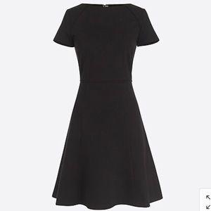 J Crew Short Sleeve Flounce Ponte Knit Black Dress